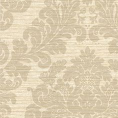 2446-83541 Grey Grasscloth Damask - Anders - Cortina III Wallpaper by Brewster