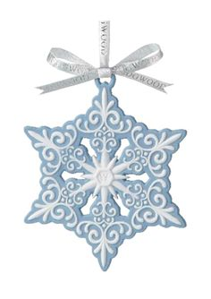 WEDGWOOD Blue and White Snowflake Ornament