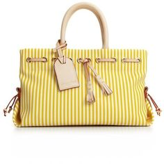 Dooney & Bourke Yellow Striped Tassel Tote Perfect for spring and the warmer months, this is a super cute striped tote from Dooney & Bourke. It is in good pre-loved condition, with some marks on the inside bottom as well as one mark on one of the handles.  Dooney & Bourke Bags Totes