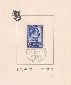 Suomi Finland 1937 Field Marshal Mannerheim 70 Years Stamp on FDC Card, Military