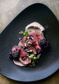 Venison Fillet with Date Labneh, Blackberries and Peanut Crumble NOPI Cookbook with Yotam Ottolenghi & Ramael Scully Dinner Party Recipes Main, Dinner Party Main Course, Beef Recipes For Dinner, Beef Recipe Dinner Party, Dinner Parties, Duck Recipes, Gourmet Recipes, Cooking Recipes, Healthy Recipes