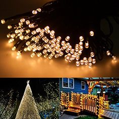 -- Tried it! Love it! Click the image.: ALOFOX Outdoor String Lights 72ft 22m 200 LED Solar Powered 1800mAH 2 Modes Steady on / Flash [warm white] at Christmas Decorations.
