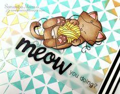 Cat and Yarn Card by Samantha Mann | Newton Unwinds Stamp Set & Die Set by Newton's Nook Designs #newtonsnook