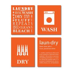 Laundry Room Wall Art Four Prints Symbols Wash Dry Definition Home Decor Gift For Mom