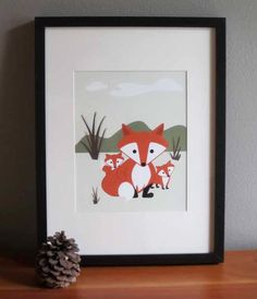 Forest Art Print - Wall Art - Kids Art - Fox Art Print - Nursery Art - Foxy Mama. $22.00, via Etsy.