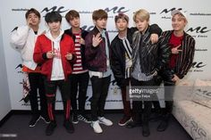 Jin, Suga, J-Hope, Rap Monster, Jimin, V and JungKook of the South Korean boy band 'BTS' visit Music Choice on March 22, 2017 in New York City.
