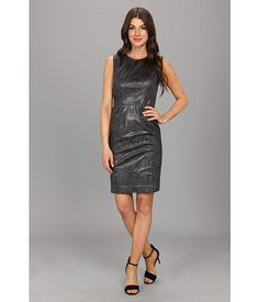 Vince Camuto Sleeveless Faux Leather Dress