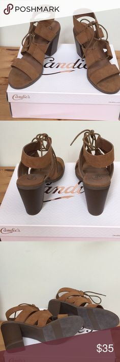 """Gorgeous Candies Strappy Tie Sandals 3.5-4."""" Heels Terrific Looking Trendy New in Box Candies faux suede CanovoCognac Color Rich looking, Comfortable, faux stacked heels.#840 Candies Shoes Sandals"""