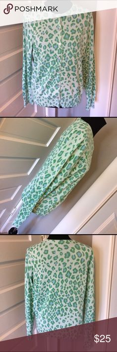 "Green Blue Leopard Print Cardigan by Lands' End Measures 19"" across bust. Like new. Super soft Lands' End Cardigan. Lands' End Sweaters Cardigans"