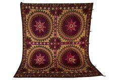 Large Vintage Suzani it's gorgeous. Perfect for bed cover or wall hanging