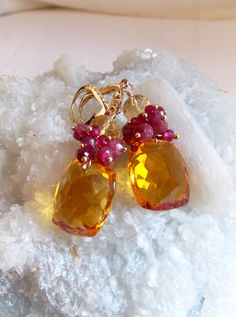 Hey, I found this really awesome Etsy listing at https://www.etsy.com/listing/257987541/citrine-and-ruby-gemstone-earrings-ruby
