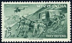 Sello: Field artillery and helicopter (India) (Defence Campaign) Mi:IN 354,Sn:IN 374,Yt:IN 160