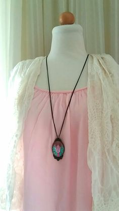 Vintage bronze jewel /painted  necklace / handmade by kanelladoll