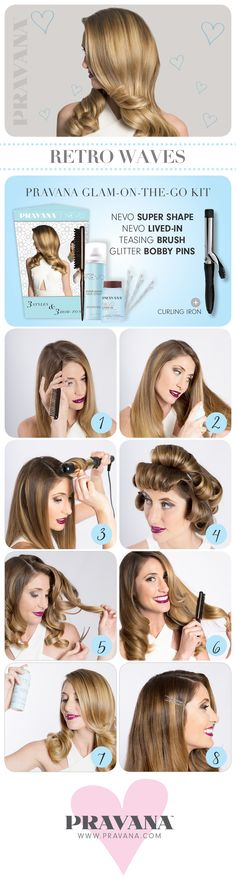 RETRO WAVES - get the look with our new NEVO Glam on the Go Kit.  Click through for details! | #pravana #retrowaves #styletutorial