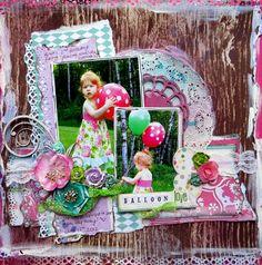 Balloon Love - Scrapbook.com -- Wendy Schultz via Linda Sukia onto Baby Layouts.