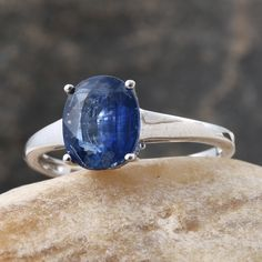 Himalayan Kyanite Solitaire Ring in Platinum Over Sterling Silver