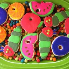 Cookies at a Very Hungry Caterpillar Party #veryhungrycaterpillar #partycookies