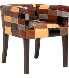 """Andi Patchwork Dining Chair""  This mid-rise dining chair features rich European leathers arranged in a patchwork motif"