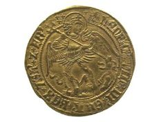 Tudor gold angel coin used as gift given by Henry VIII after touching to heal subjects who had disease called King's Evil or scrofula.