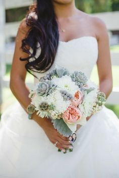 succulent love. #brideside #wedding #bouquets #succulents #flowers