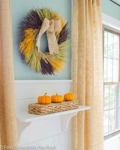 How to create a shelf vignette + pretty fall Home Goods wreath