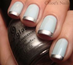Light Blue Nails + Silver Tips French Mani #Nails #Mani #NailArt #FrenchMani #Silver #Blue #LightBlue