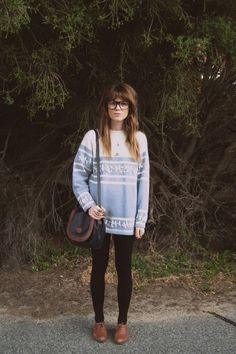ok yeah basically my winter style in a photo: oxfords, sweater, nerd glasses