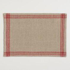 Red Stripe Linen Placemats Set of 4 - v1