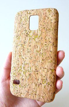 NEW GOLD SPECKS WOOD CORK CASE FOR Samsung Galaxy S 5 S5 i9600 by Yunikuna, $35.00