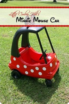 minnie or mickey mouse car.turn an old little tikes car into something amazing! My Baby Girl, Baby Love, Minnie Mouse Car, Whatever Forever, My Bebe, Little Tikes, Disney Crafts, Disney Diy, Kid Crafts