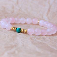 Buddhist Bracelet, Wrist Mala, Yoga Jewelry, Rose Quartz & Malachite – Love, Harmony, Emotional Healing, True Desires