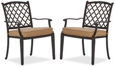 Strathwood Whidbey Cast-Aluminum Dining Arm Chair, Set of 2 - [HOME & GARDEN]