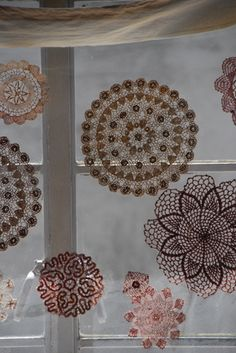 stiffen doilies to hang without hoops