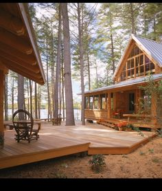 Deck built around trees.