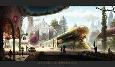 Train To Botanica by *Industrial-Forest on deviantART (Steampunk) Sci Fi Fantasy, Fantasy World, Steampunk Architecture, Steampunk Ship, Steampunk Pirate, Steampunk Images, Steampunk Accessoires, Fantasy Landscape, Costumes
