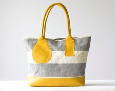 Kallisto - Shoulder bag Tote in stripe cotton canvas and Yellow leather. $120NZ, via Etsy.
