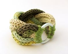 knitted braided bracelet in green and gray