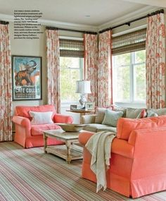 Buy a slipcovered oversized chair for that pop of color in the living room. Like the oversized chairs!