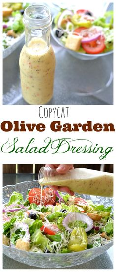 Copycat olive garden salad dressing recipe cooking, recipes and for olive. Salada Do Olive Garden, Olive Garden Salad, Olive Salad, Olive Garden Caesar Salad Recipe, Vegan Olive Garden, Olive Garden Italian Dressing, Olive Garden Soups, Vegetable Garden, New Recipes