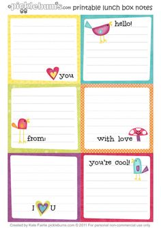 {Printable Lunch Box Notes} sure to make any lunch sweeter -- great ideas for what to write on your lunch box notes too!