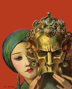 Art Deco woman with mask 16x20 canvas print by W.T Benda