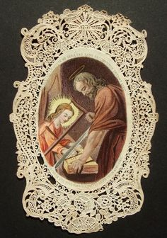ANTIQUE FRENCH CANIVET LACE HOLY CARD SAINT JOSEPH & JESUS CHILD Bouasse - Lebel