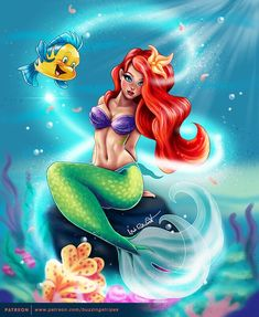 Arielle by BuzzyNSparkle on DeviantArt Princess Meme, Pride Rock, Fantasy Paintings, Princess Collection, Ariel The Little Mermaid, Disney Animation, Cartoon Drawings, Cute Cartoon, Pixie