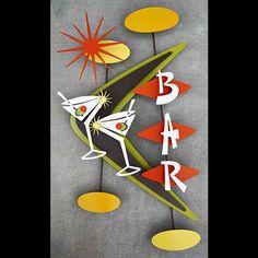 Whimsical retro futuristic googie styled metal bar art by Stevotomic. Mid Century Modern Decor, Mid Century Art, Mid Century Design, Modern Retro, Retro Art, Tiki Lounge, Tiki Art, Retro Clock, Bar Art