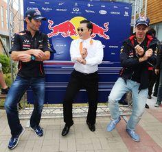 Mark Webber, Seb Vettel and Psy