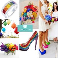 Rainbow wedding! I love the rainbow shoes idea or different colors for the bridesmaids shoes, bouquets and maybe dresses? :)