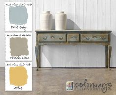COLORWAYS @ lesliestocker.com     French Sideboard Inspiration from Ralph Lauren Home. Annie Sloan Chalk Paint® Paris Grey, French Linen and accents of Arles.