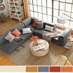 Spring Decorating, Neutral Interior Paint Colors, Bright Decor is part of Living Room Colors Bright - Bright interior paint colors, light textures and decorating ideas are traditionally associated with spring decorating Living Room Orange, Living Room Grey, Rugs In Living Room, Living Room Furniture, Furniture Decor, Living Room Seating, Room Rugs, Interior Color Schemes, Living Room Color Schemes