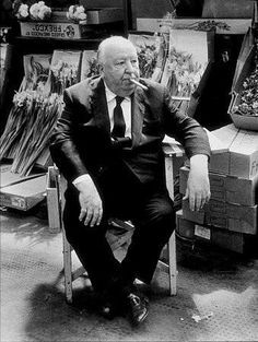 Alfred Hitchcock on the set of Frenzy.