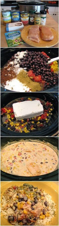 Crock pot cream cheese chicken chili. 1 can black beans (drained and rinsed) 1 can corn (undrained) 1 can Rotel (undrained) 1 pkg ranch dressing mix 1 tsp cumin 1 Tbsp chili powder  1 tsp onion powder 1 (8 oz) pkg cream cheese 2 chicken breast halves or 5 tenders frozen  Place chicken in bottom of slow cooker. Combine everything but cream cheese and pour over chicken. Pkease cream cheese on top. Cover and cook on low 6-8 hours. Stir cream cheese into chili. 3-4 adult servings.